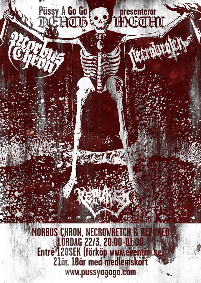 NECROWRETCH + Repuked + Morbus Chron (22/03/2014 @ The Liffey, Stockholm)