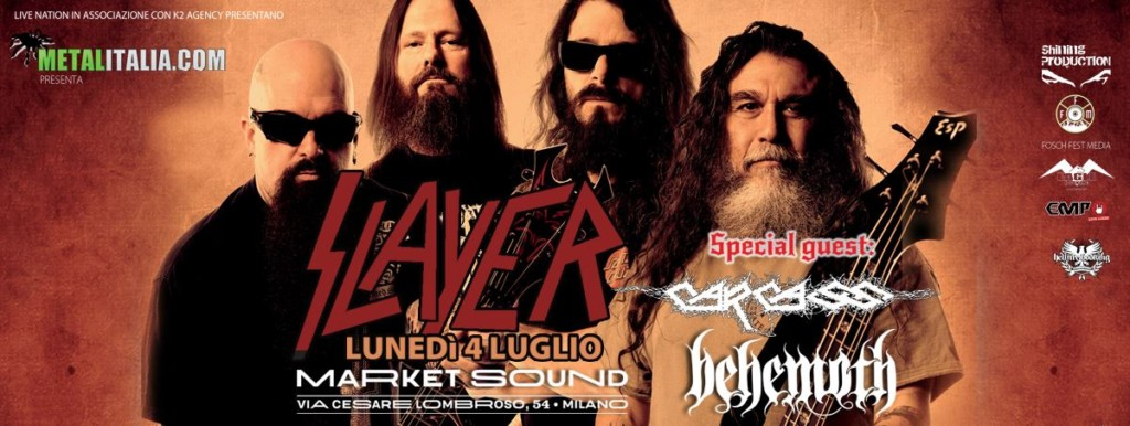SLAYER + Carcass + Behemoth (05/07/2016 @ Market Sound, Milano)