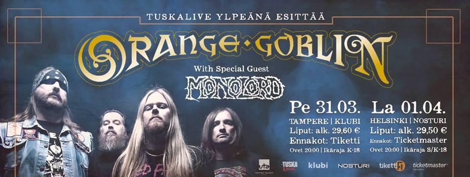 ORANGE GOBLIN + Monolord (01/04/2017 @ Nosturi, Helsinki)