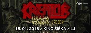 KREATOR + Vader + Dagoba (18/01/2018, Kino Šiška, Lubiana)